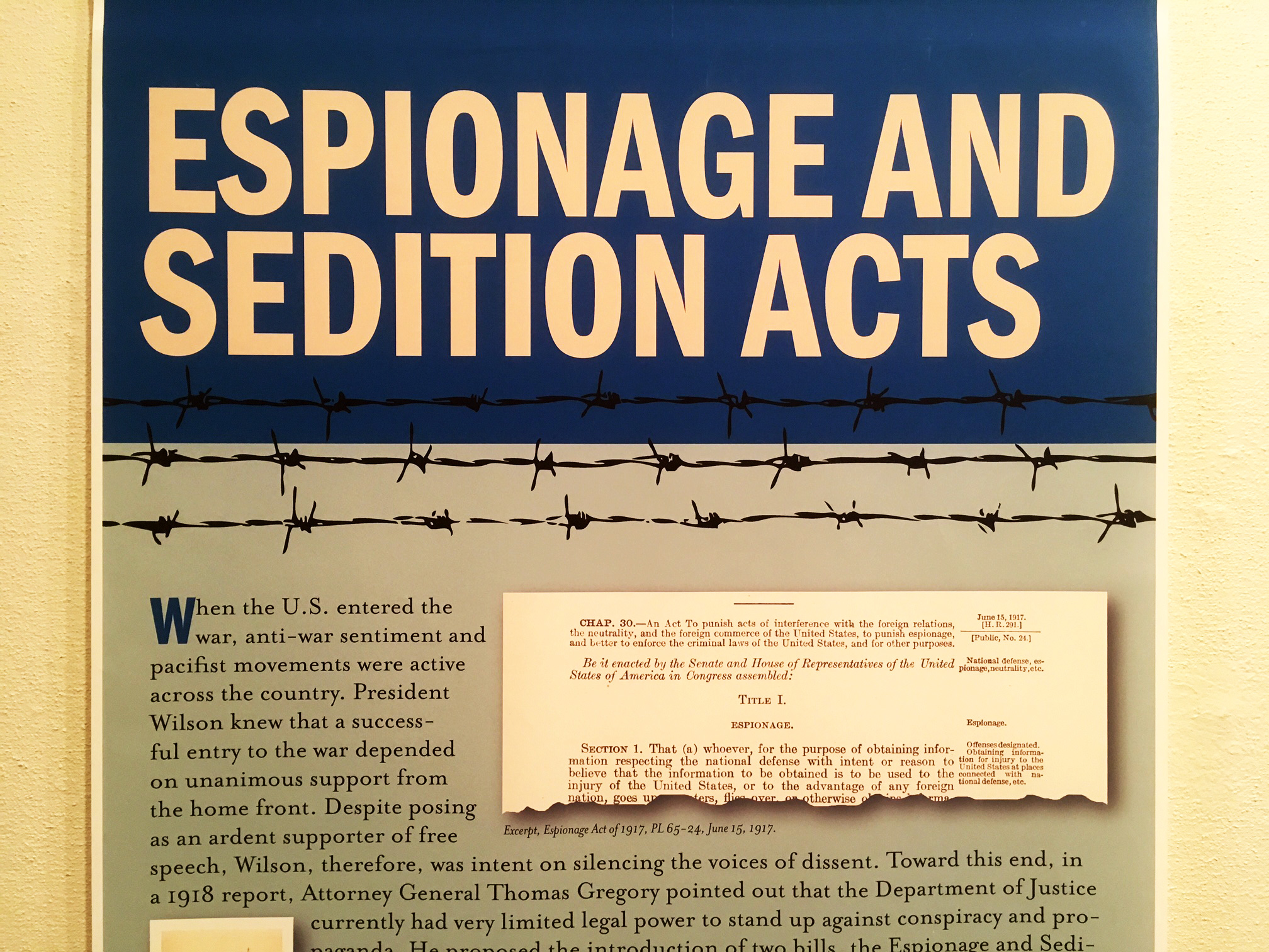 A panel examining the Espionage and Sedition Acts enacted during World War I.