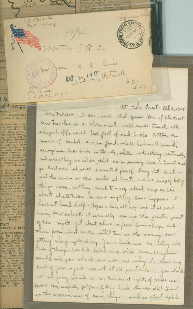 Thomas S. Buie letter from the front lines of France during World War I.