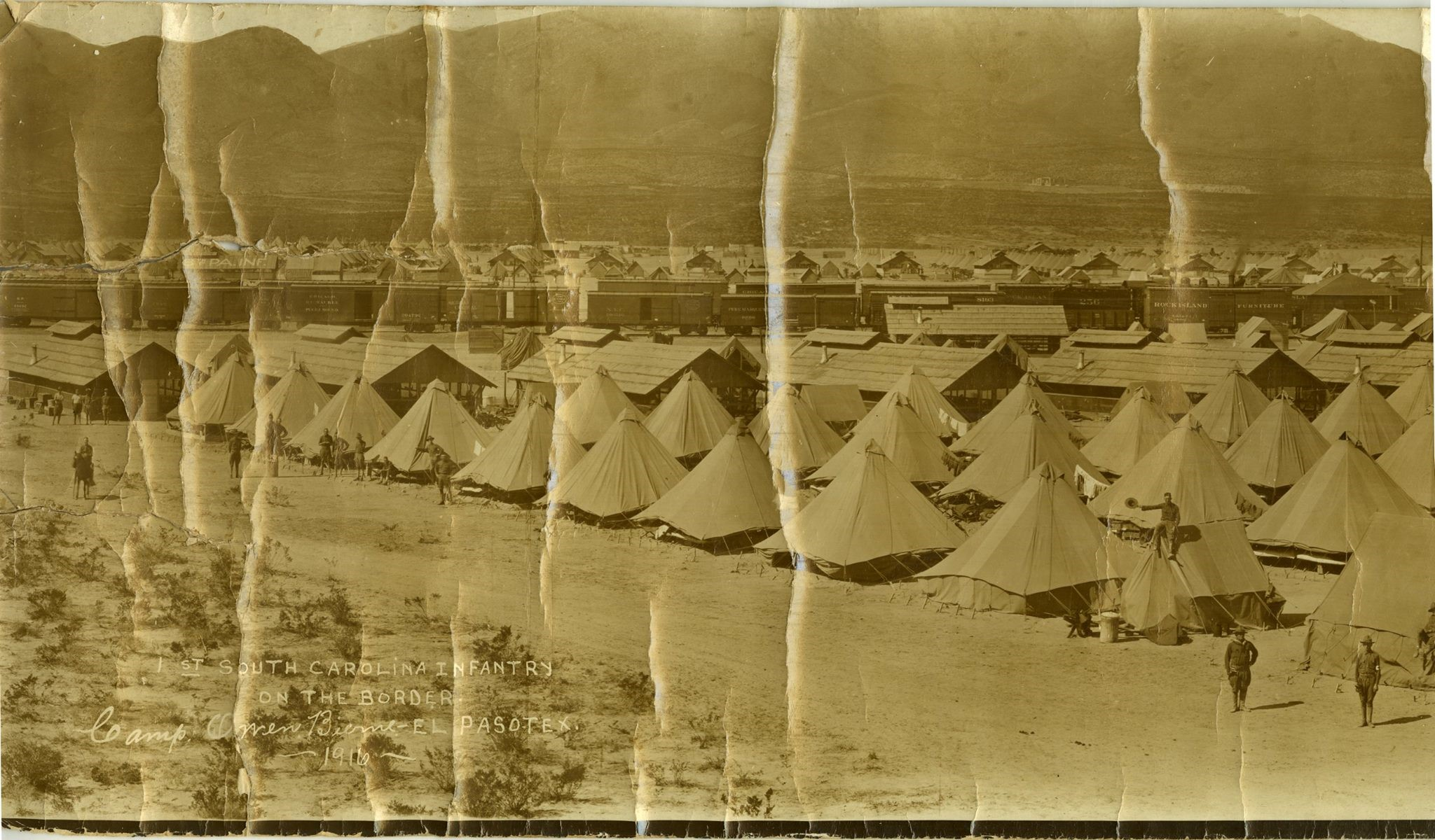 1st South Carolina Infantry, ca. 1916 at Camp Owen Bierne, El Paso, Texas, courtesy of SC Dept. of Archives and History