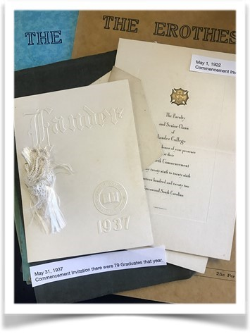 Commencement invitations for Lander University students on display at the Lander University Archives in the Larry Jackson Library.
